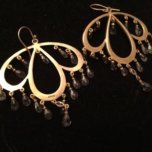 Gold Tone Earrings with Crystal Drops